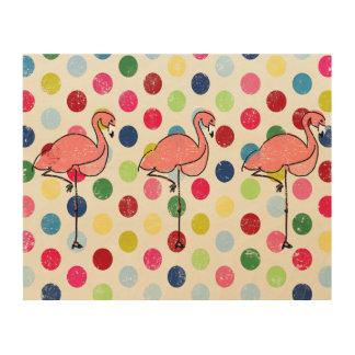 Niedliche Funky Flamingo-bunte Polka-Punkte Holzdruck