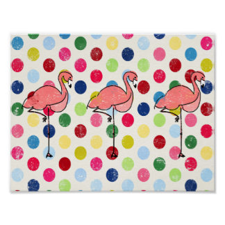 Niedliche Funky Flamingo-bunte Polka-Punkte Poster