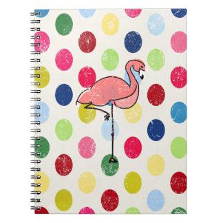 Niedliche Funky Flamingo-bunte Polka-Punkte Spiral Notizblock