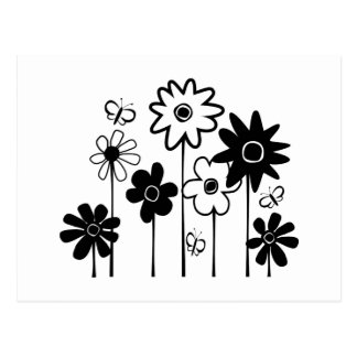 Niedliche Funky sortierte Blumen mit Schmetterling Postkarte