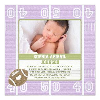 Niedliche Fußball-Baby-Mitteilungs-lila Mädchen Karte