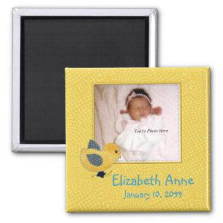 Niedliche gelbe Baby-Küken-Foto-Geburts-Mitteilung Quadratischer Magnet
