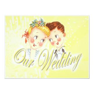 Niedliche gelbe Braut-u. 16,5 X 22,2 Cm Einladungskarte