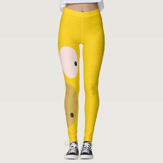 Niedliche gelbe Gesichtworkout-Gamaschen Leggings