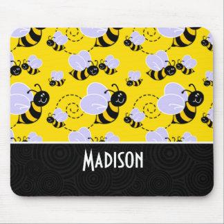 Niedliche gelbe u. schwarze Biene Mousepads