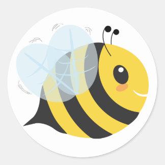 Niedliche gelbe und schwarze beschäftigte Biene Runder Aufkleber