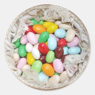Niedliche Gelee-Bohnen-Süßigkeits-Ostern-Aufkleber Runder Aufkleber