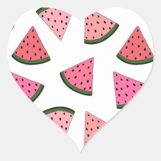 Niedliche gezeichnetes Muster der Wassermelone Herz-Aufkleber