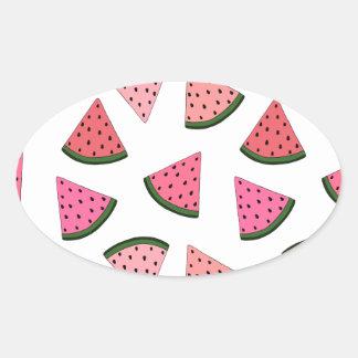 Niedliche gezeichnetes Muster der Wassermelone Ovaler Aufkleber