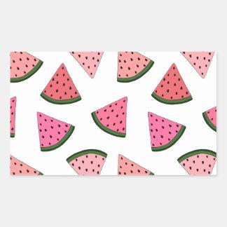 Niedliche gezeichnetes Muster der Wassermelone Rechteckiger Aufkleber