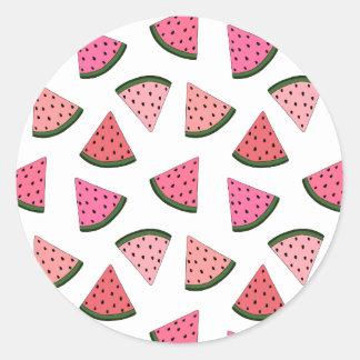 Niedliche gezeichnetes Muster der Wassermelone Runder Aufkleber