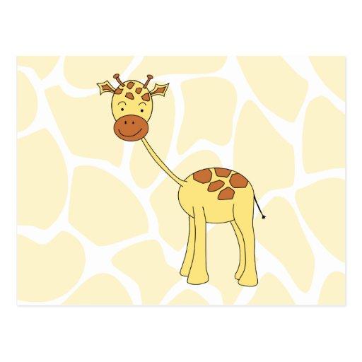 Niedliche Giraffe. Karikatur Postkarte