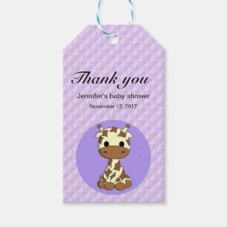 Niedliche Giraffe kawaii Cartoon-Babydusche danken Geschenkanhänger