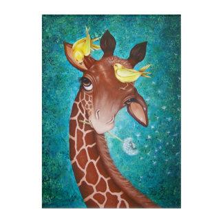 Niedliche Giraffe mit dem Vogel-Malen Acryldruck