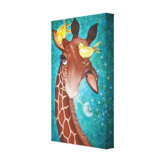 Niedliche Giraffe mit dem Vogel-Malen Gespannter Galerie Druck