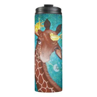 Niedliche Giraffe mit dem Vogel-Malen Thermosbecher