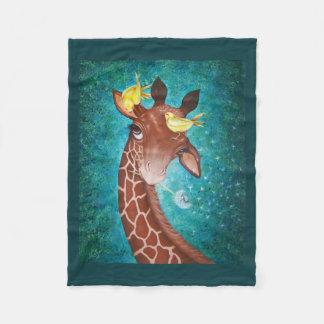 Niedliche Giraffe mit Vögeln Fleecedecke