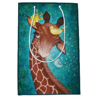 Niedliche Giraffe mit Vögeln Mittlere Geschenktüte
