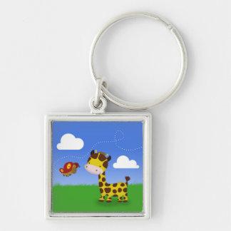 Niedliche Giraffe und Schmetterling - Keychain Schlüsselanhänger