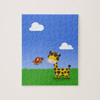 Niedliche Giraffe und Schmetterling - Puzzlespiel Puzzle