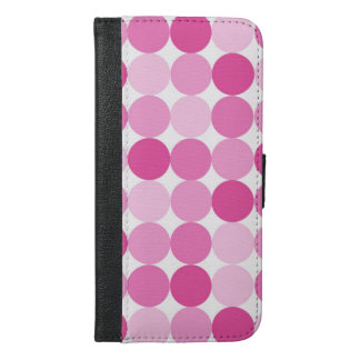 Niedliche Girly elegante rosa Polka-Punkte iPhone 6/6s Plus Geldbeutel Hülle
