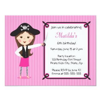 Niedliche girly Geburtstagseinladung des rosa Individuelle Einladung