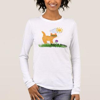 Niedliche Girly Geeky Katze mit Hipster-Glas-T - Langarm T-Shirt