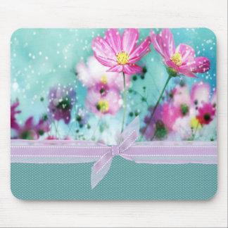 Niedliche Girly Polka-Punkte, blühende Blumen Mousepad