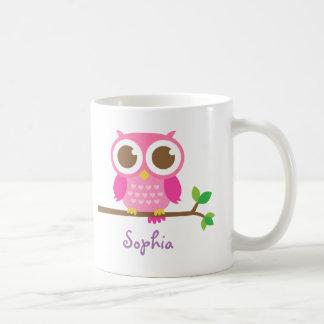 Niedliche Girly rosa Eule für Mädchen Kaffeetasse