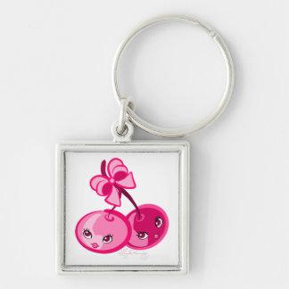 Niedliche Girly rosa Kirschen Silberfarbener Quadratischer Schlüsselanhänger