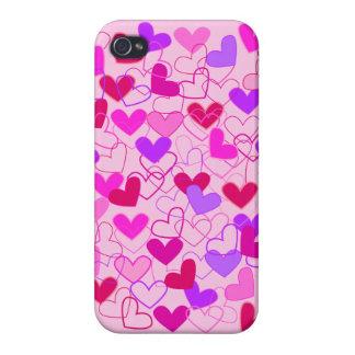 Niedliche Girly rosa lila u. rote Herzen abstrakt iPhone 4 Hülle
