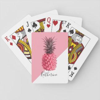 Niedliche girly tropische rosa und weiße Ananas Spielkarten