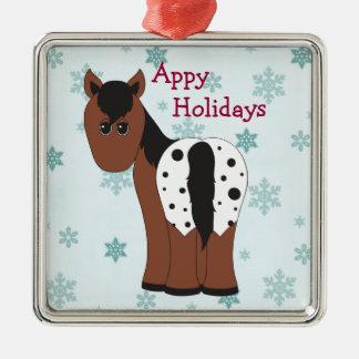 Niedliche glückliche Appy Feiertageumfassendes Silbernes Ornament
