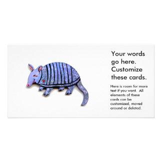 Niedliche glückliche einzigartige Gürteltiere des Fotokarten