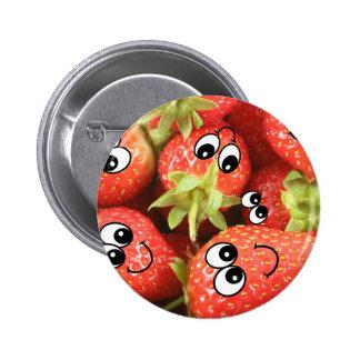 Niedliche glückliche Erdbeeren Runder Button 5,7 Cm