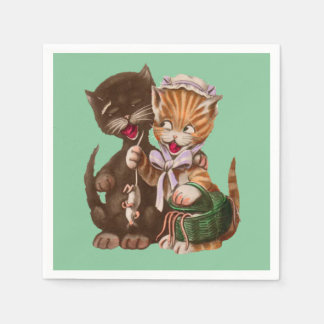 Niedliche glückliche männlich-weibliche Katzen, Serviette