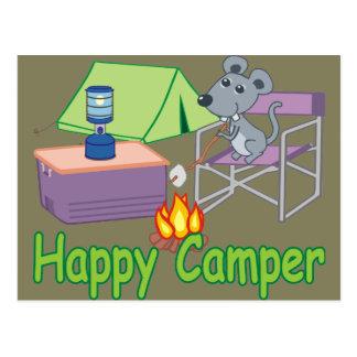 Niedliche glücklicher Lagerbewohner-Cartoon-Maus Postkarte