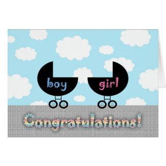 Niedliche Glückwunsch-Zwillinge Junge und Mädchen Grußkarte