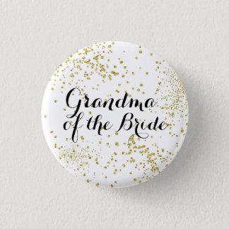 Niedliche GoldGlitzer-Großmutter des Braut-Knopfes Runder Button 2,5 Cm