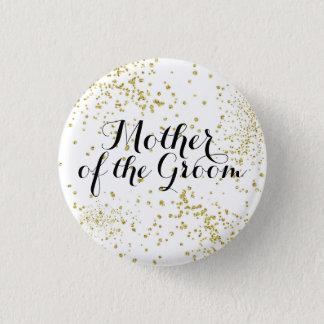 Niedliche GoldGlitzer-Mutter des Bräutigam-Knopfes Runder Button 3,2 Cm