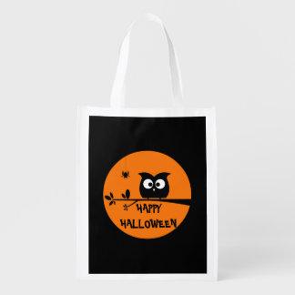 Niedliche Halloween-Eule Wiederverwendbare Einkaufstasche