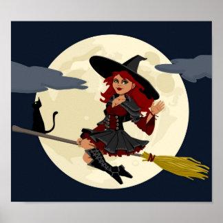 Niedliche Halloween-Hexe Poster