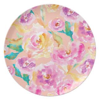 Niedliche handgemalte Watercolor-Blumen Melaminteller