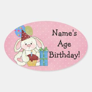 Niedliche Häschen-Geburtstags-Aufkleber Ovaler Aufkleber