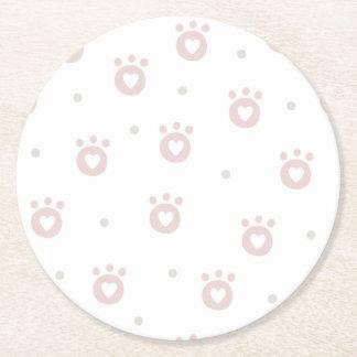 Niedliche Haustier-Tatzen mit PapierUntersetzer Runder Pappuntersetzer