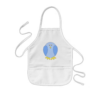 Niedliche hellblaue Vogel-Karikatur Kinderschürze