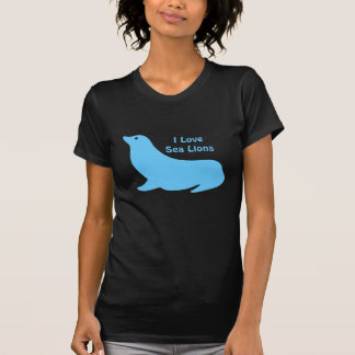 Niedliche helle blaue Seelöwe-Liebe T-Shirt