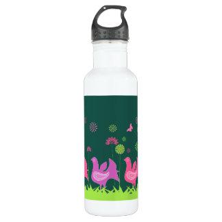 Niedliche Henne und Blumen Edelstahlflasche