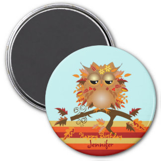 Niedliche Herbsteule und -individueller Name/-text Runder Magnet 7,6 Cm