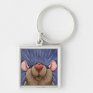 Niedliche Herz-Ratte Keychain Silberfarbener Quadratischer Schlüsselanhänger